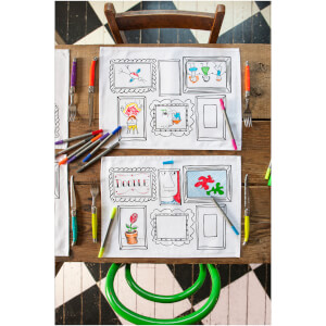 eatsleepdoodle Frames Placemats - Colour Your Own Placemats with 10 Wash-Out Pens (Set of 4)