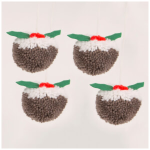 Sass & Belle Set Of 4 Christmas Pudding Pom Pom Hanging Dec