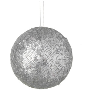 Parlane Sequin Hanging Decoration (10 x 10cm) - Silver Bauble
