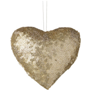 Parlane Sequin Hanging Decoration (10 x 12cm) - Gold Heart