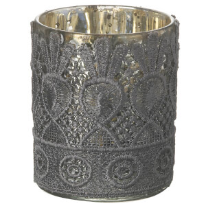 Parlane Lacey Glass Tealight Holder (9 x 7cm) - Grey
