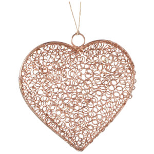 Parlane Wire Heart Hanging Decoration (15 x 15cm) - Copper