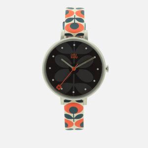 Orla Kiely Women's Ivy Print Leather Watch - Navy/Orange