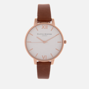 Olivia Burton Women's White Dial Big Dial Watch - Tan/Rose Gold