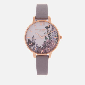 Olivia Burton Women's Winter Garden Watch - Grey Lilac/Rose Gold