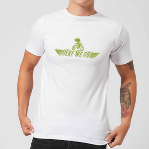 Nintendo Mario Kart Yoshi Here We Go Men's T-Shirt - White