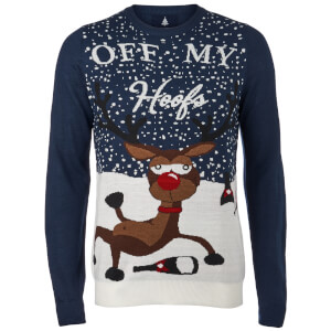 Threadbare Men's Off My Hoofs Christmas Jumper - Navy