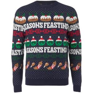 Threadbare Men's Seasons Feastings Christmas Jumper - Navy