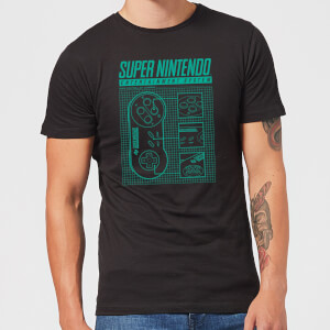 Nintendo SNES Controller Blueprint T-Shirt - Black