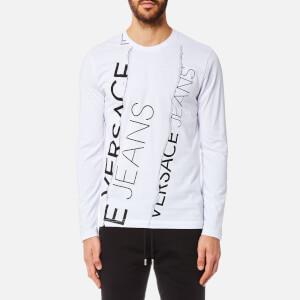 Versace Jeans Men's Long Sleeve Vertical Logo T-Shirt - Bianco Ottico