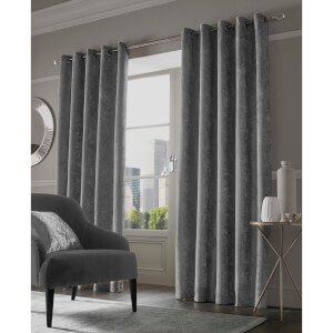 Sienna Eyelet Crushed Velvet Curtains - Silver