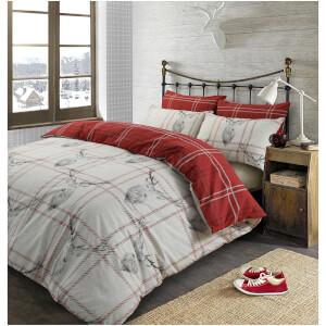 Dreamscene Stag Check Duvet Set - Red