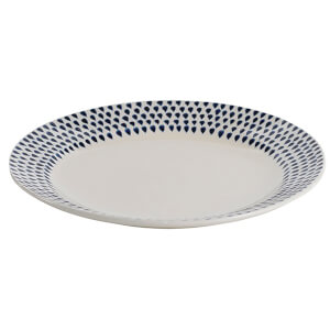 Nkuku Indigo Drop Dinner Plate - Cream and Indigo