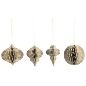 Nkuku Papel Paper Decoration - Brown and Copper (Set of 4)