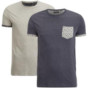 Brave Soul Men's 2 Pack Leo Pocket T-Shirt - Navy/Ecru