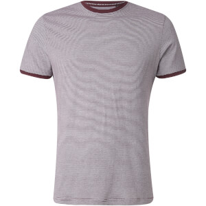 Brave Soul Men's Gandalf Stripe T-Shirt - Burgundy/White