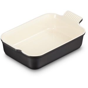 Le Creuset Stoneware Medium Heritage Rectangular Roasting Dish - 26cm - Satin Black