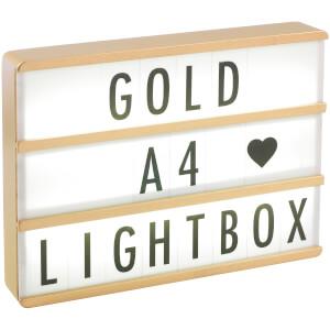 A4 Premium Holzerne Kino-Leuchtkasten – Gold