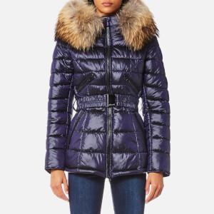 Froccella Women's Mid Belt Big Fur Collar Coat - Ink/Natural Fur