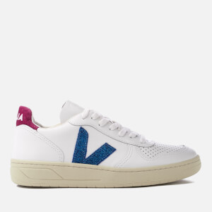 Veja Women's V-10 Leather Trainers - Extra White Neon Magenta