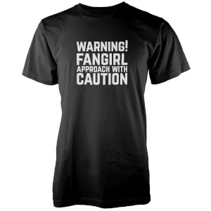 T-Shirt Femme Warning! Fangirl Approach With Caution - Noir