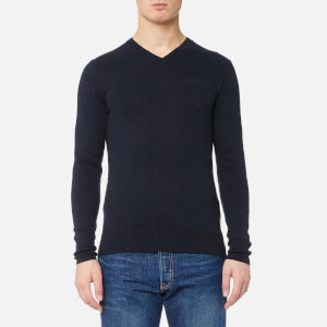 Superdry Men's Orange Label V Neck Knitted Jumper - Eclipse Navy/Black Twist