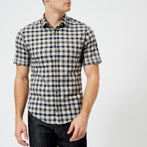 BOSS Green Men's Barn Short Sleeve Checked Shirt - Khaki