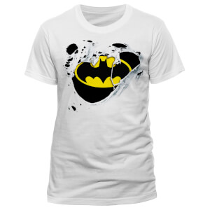 DC Comics Men's Batman Torn Logo T-Shirt - White