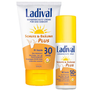 LADIVAL® Schutz & Bräune Plus Sonnenschutz Creme für das Gesicht LSF 30 bzw. Schutz & Bräune Plus Sonnenschutz Spray LSF 50+