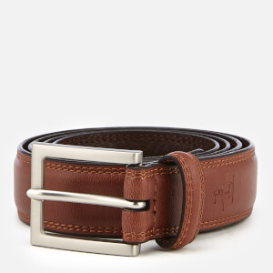 Original Penguin Men's Leather Double Edge Stitch Belt - Brown