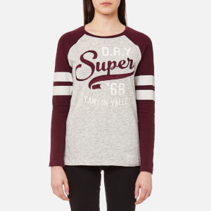 Superdry Women's Applique Raglan Long Sleeve T-Shirt - Dark Storm Marl/Rich Berry