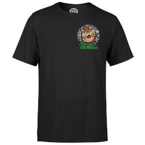 Nintendo Super Mario Bowser Merry Christmas Pocket Wreath Black T-Shirt
