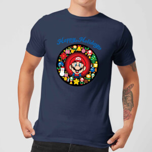 T-Shirt Nintendo Super Mario Mario Happy Holidays Navy