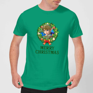 Nintendo The Legend Of Zelda Link Merry Christmas Kerstkrans Heren T-shirt - Groen