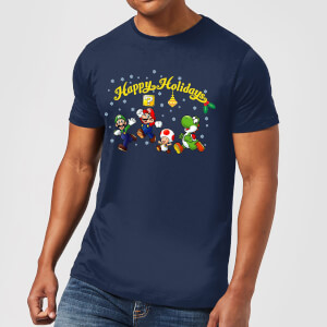 T-Shirt Nintendo Super Mario Good Guys Happy Holidays - Blu Scuro