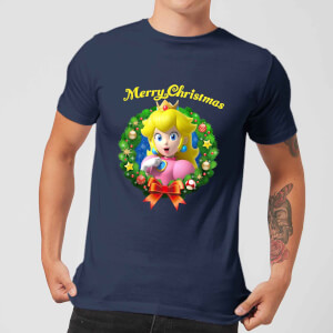 Nintendo® Super Mario Peach Merry Christmas Wreath T-Shirt - Blau