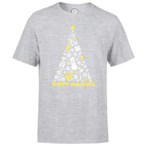 Nintendo White Christmas Happy Holidays Grey T-Shirt