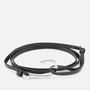 Miansai Men's Leather Bracelet with Silver Hook - Black