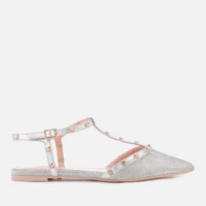 Dune Women's Cayote Pointed Flats - Silver