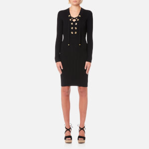 MICHAEL MICHAEL KORS Women's Lace Up Rib Dress - Black
