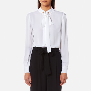 MICHAEL MICHAEL KORS Women's Grommet Neck Tie Blouse - White