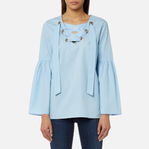 MICHAEL MICHAEL KORS Women's Poplin Grommet Lace Up Top - Cloud