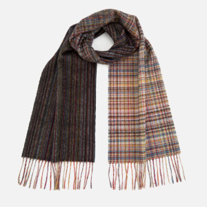Paul Smith Men's Multistripe Check Wool Scarf - Red