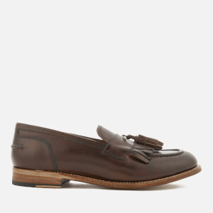 Grenson Men's Mackenzie Hand Painted Leather Tassel Loafers - Dark Brown
