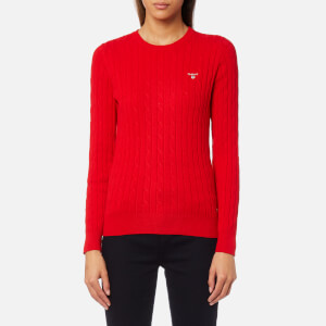 GANT Women's Stretch Cotton Cable Crew Jumper - Red