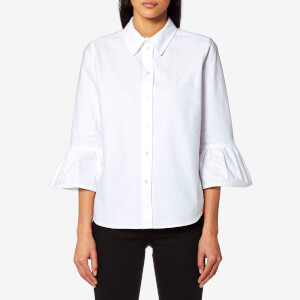 Marc Jacobs Women's Button Down Shirt with Ruffle Sleeves - White