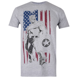 Marvel Men's Captain America Flag T-Shirt - Grey Heather