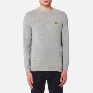 Lyle & Scott Men's Crew Neck Cotton Linen Knitted Jumper - Light Grey Marl