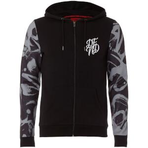 DFND Men's Flickers Zip Through Contrast Sleeve Hoody - Black