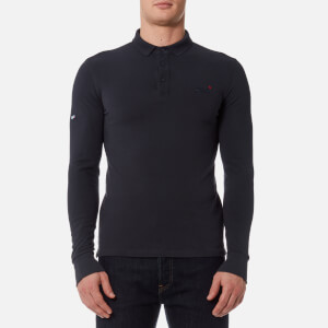 Superdry Men's City Long Sleeve Pique Polo Shirt - Super Dark Navy